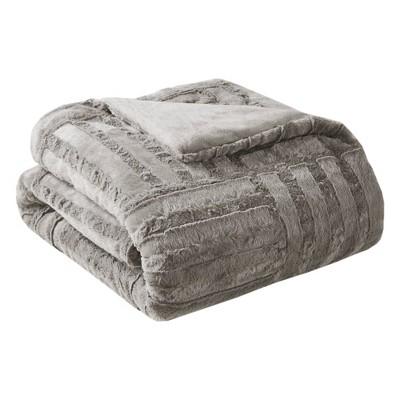 "50""x60"" Polar Solid Faux Fur Throw Blanket Gray"