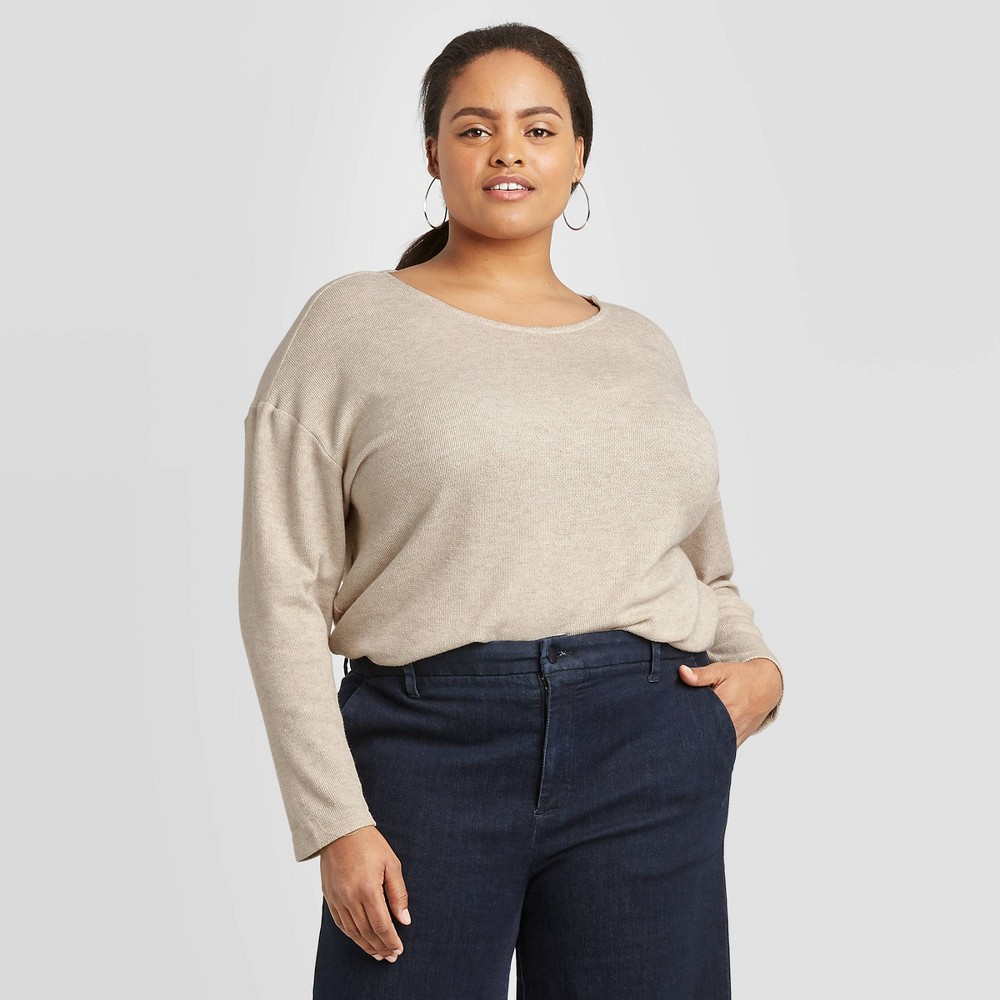 Women's Plus Size Long Sleeve Round Neck Henley Shirt - A New Day Light Brown 3X was $19.99 now $10.99 (45.0% off)