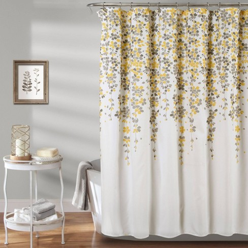 Weeping Flower Shower Curtain Yellow/Gray - Lush Décor - image 1 of 4