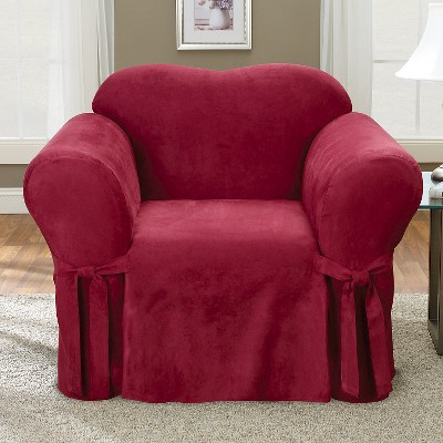 Soft Suede Chair Slipcover Burgundy - Sure Fit, Red