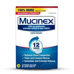 Mucinex Maximum Strength 12-Hour Chest Congestion Expectorant Tablets