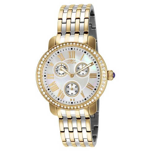 Women's Invicta 15010 Angel Quartz Chronograph White Dial Link Watch - Two Tone - image 1 of 1