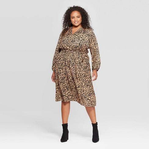 Women\'s Plus Size Leopard Print Long Sleeve Midi Dress - Ava & Viv™ Brown