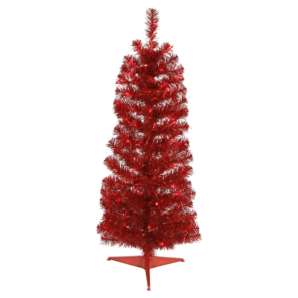 2ft Pre - Lit Artificial Christmas Tree Red Pencil