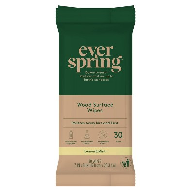 Wood Surface Specialty Wipes Lemon & Mint - 30ct - Everspring™