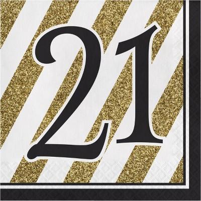 48ct Happy 21st Birthday Napkins Black
