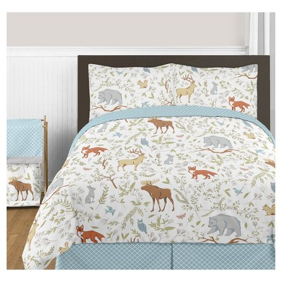 Gray & Blue Woodland Toile Comforter Set (Full/Queen) - Sweet Jojo Designs