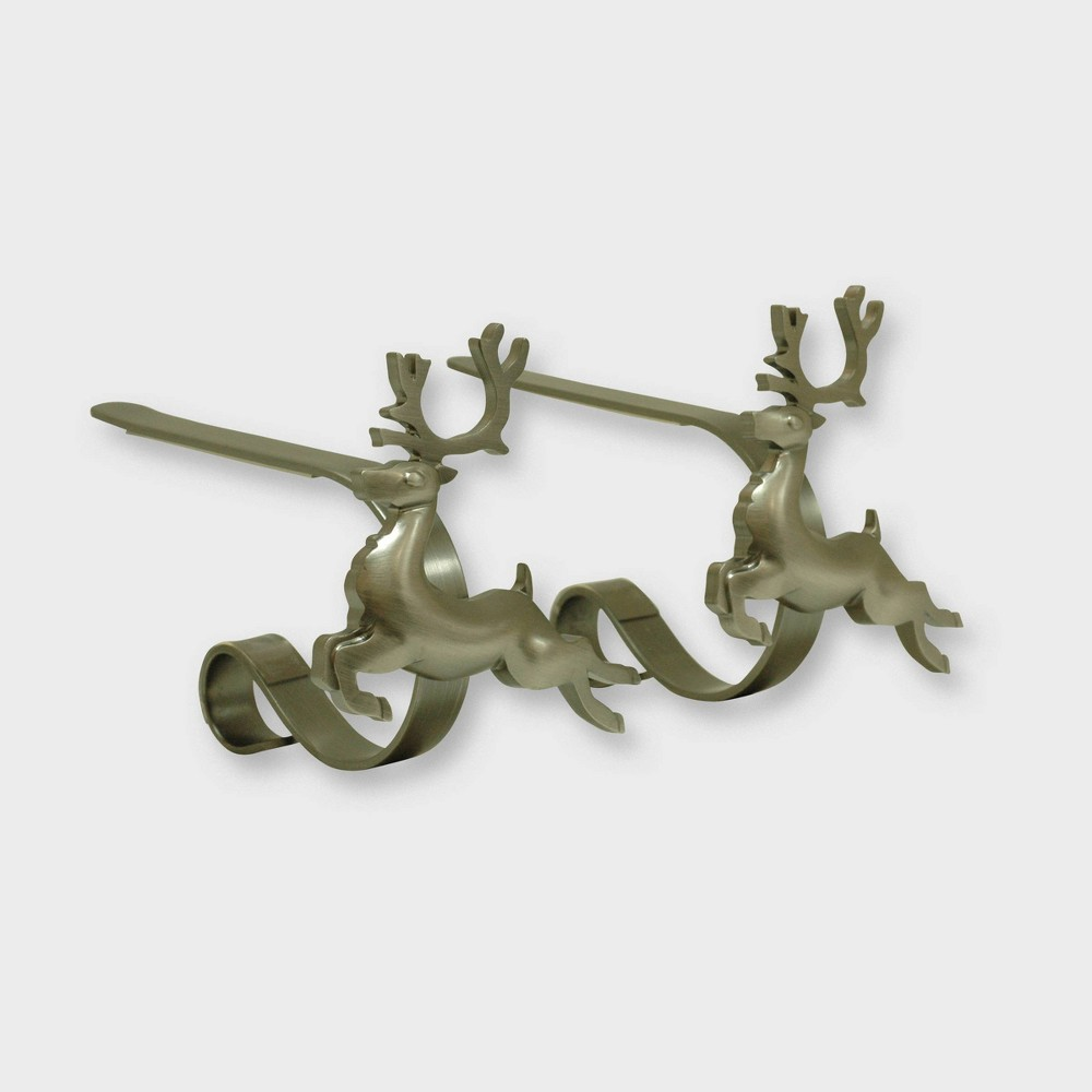Image of Original MantleClip 2ct Reindeer Pewter Christmas Stocking Holder, Silver