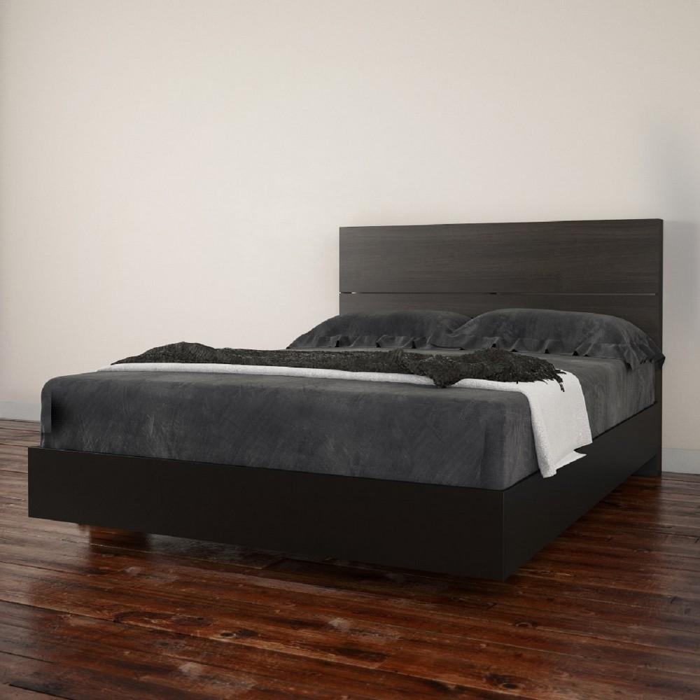 Opaci T Platform Bed and Headboard Full Black - Nexera