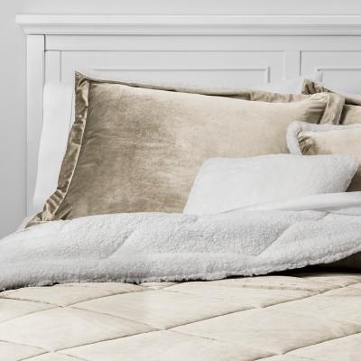 5pc Full/Queen Stockholm Velvet Reverse to Sherpa Comforter Set Tan