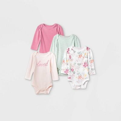 Baby Girls' 4pk Meadow Long Sleeve Bodysuit - Cloud Island™ Pink Newborn