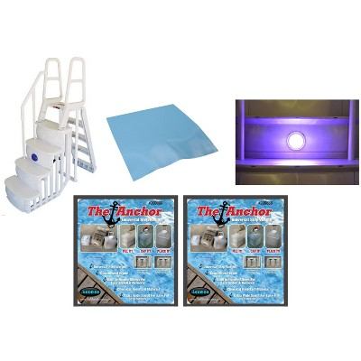 Main Access 200100T Above Ground Pool Ladder Steps w/ Pad + 2 Weights + LED Lite