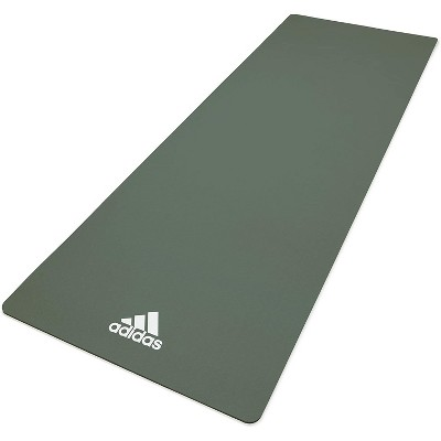 Adidas ADYG-10100RG Universal Exercise Roll Up Slip Resistant Fitness Yoga Mat, 8mm Thick, Raw Green