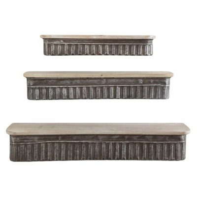 Metal & Wood Shelves - Set of 3 - 3R Studios