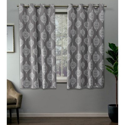 """Set of 2 63""""x52"""" Medallion Blackout Grommet Top Window Curtain Panel Silver - Exclusive Home"""