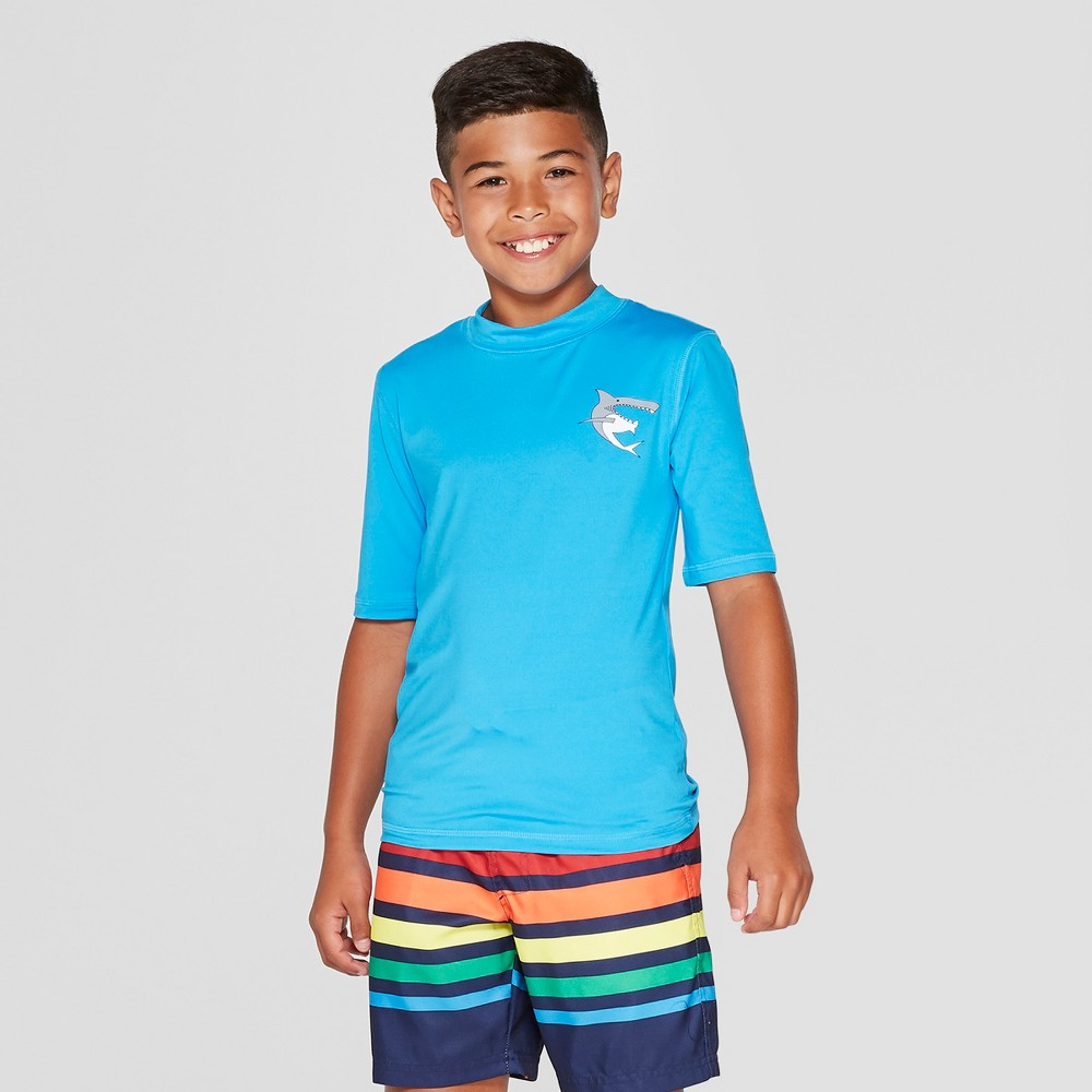 Boys' Shark Pocket Rash Guard - Cat & Jack Blue XL