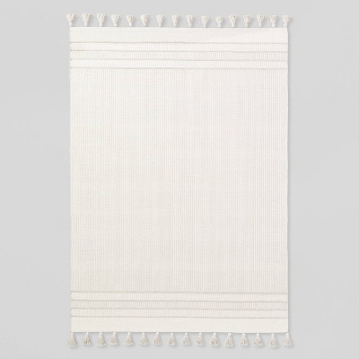 Texture Border Stripe Rug Cream/Silver Gray - Hearth & Hand™ with Magnolia