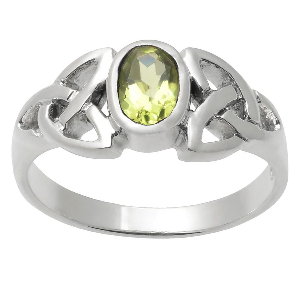 1/6 CT. T.W. Oval-cut Peridot Celtic Knot Bezel Set Ring in Sterling Silver - Green, 6, Girl's