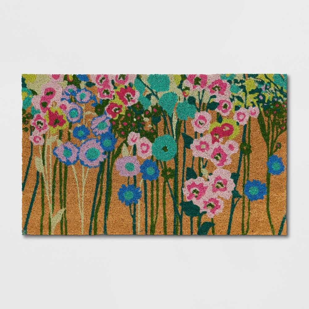 x 2'6in Floral Door Mat Green