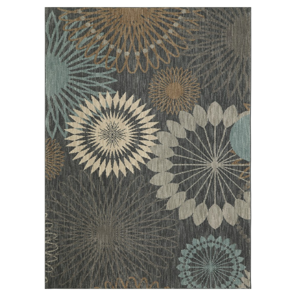 Image of Blue Floral Woven Area Rug 8'X11' - Karastan