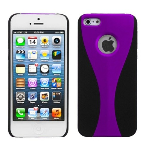 MyBat C Wave Rubberized Hard Snap-in Case Cover Compatible With Apple iPhone 5/5S/SE, Purple/Black - image 1 of 3