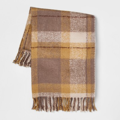 60 x50  Faux Mohair Plaid Throw Blanket Gold - Threshold™