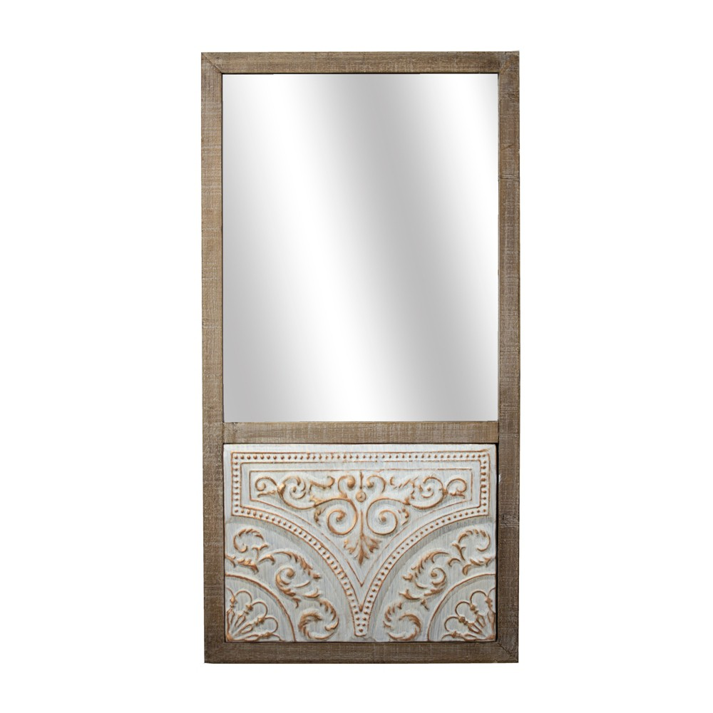 Wooden Wall Mirror With Metal Design Brown - E2 Concepts