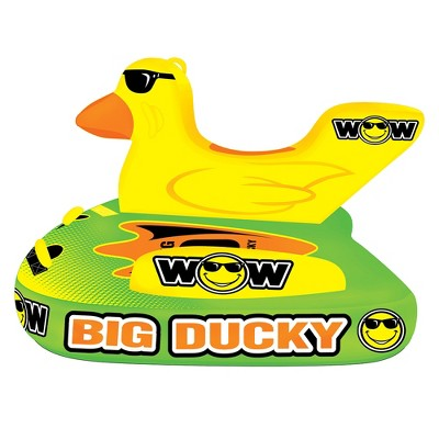 WOW Watersports 18-1140 Heavy Duty Big Ducky 1, 2, or 3 Person Lake Ocean Inflatable Towable Tube, Yellow