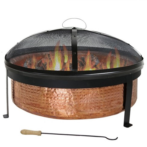 Hammered Copper Wood Burning Fire Pit Bowl Round Sunnydaze Decor Target