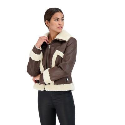 Sebby Collection Women's Zip Front Faux Shearling