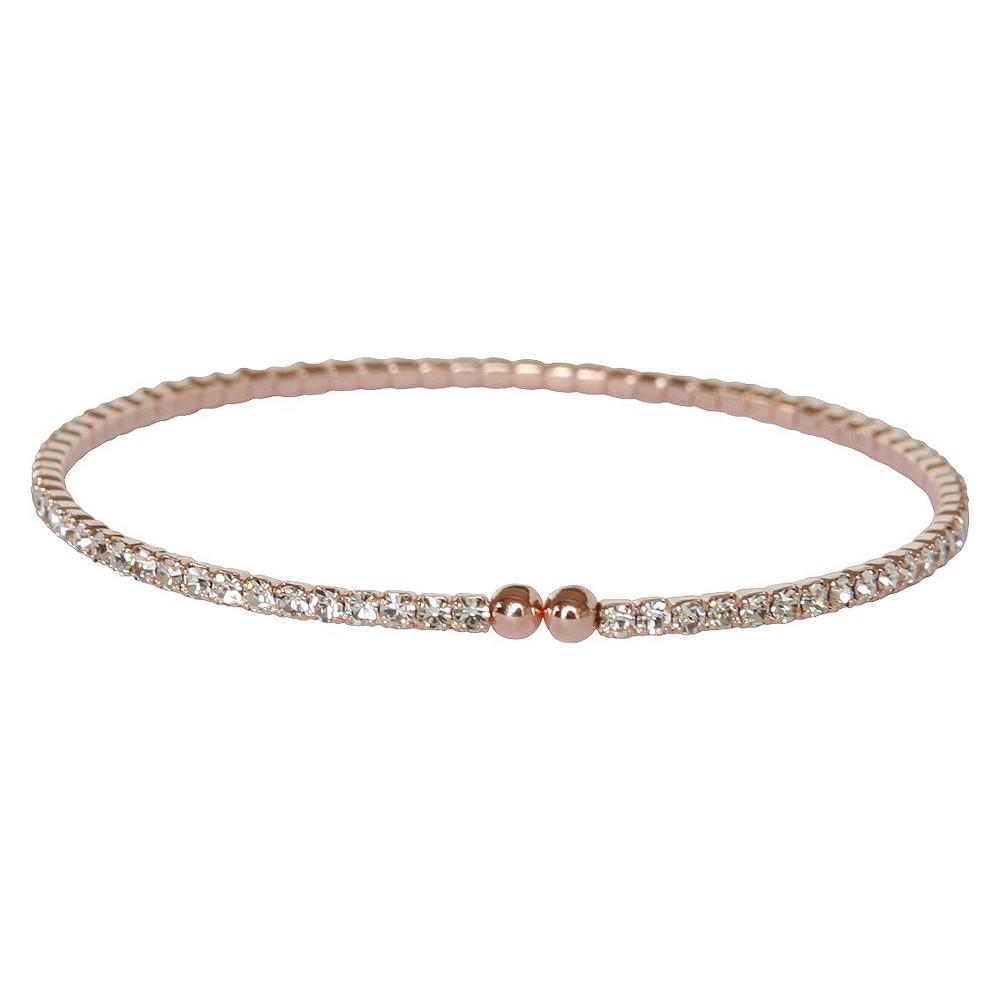 Image of 2mm Czech Crystals Open Ended Bracelet - Rose Gold, Women's, Gold/Pink