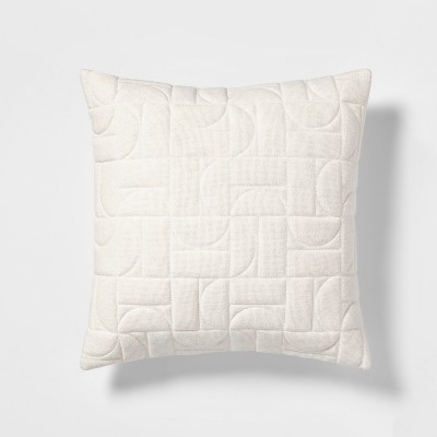 Quilted Geo Square Throw Pillow White - Project 62™