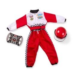 Melissa & Doug Race Car Driver Role Play Costume Set (3pc) - Jumpsuit, Helmet, Steering Wheel, Adult Unisex, Size: Small, Gold