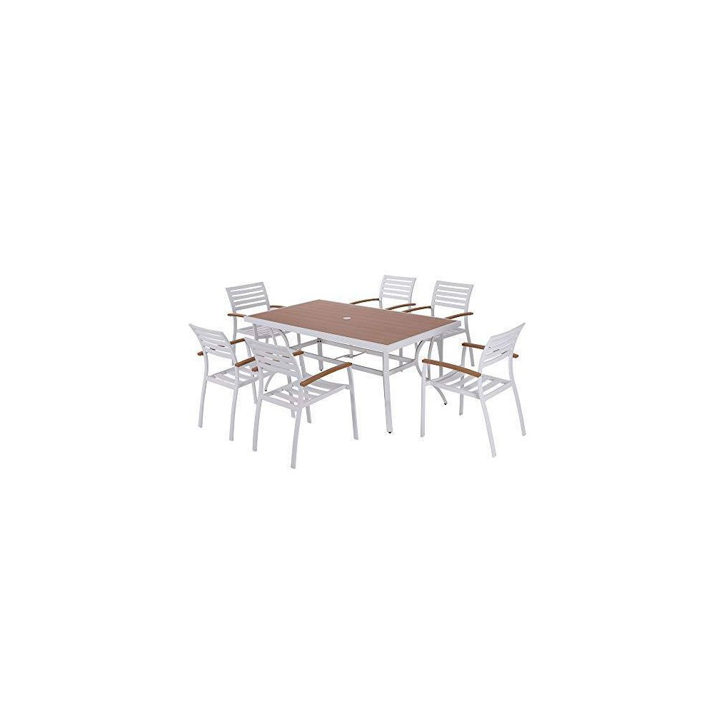 Image of 7pc Aluminum and Poly Lumber Patio Dining Set - Nuu Garden