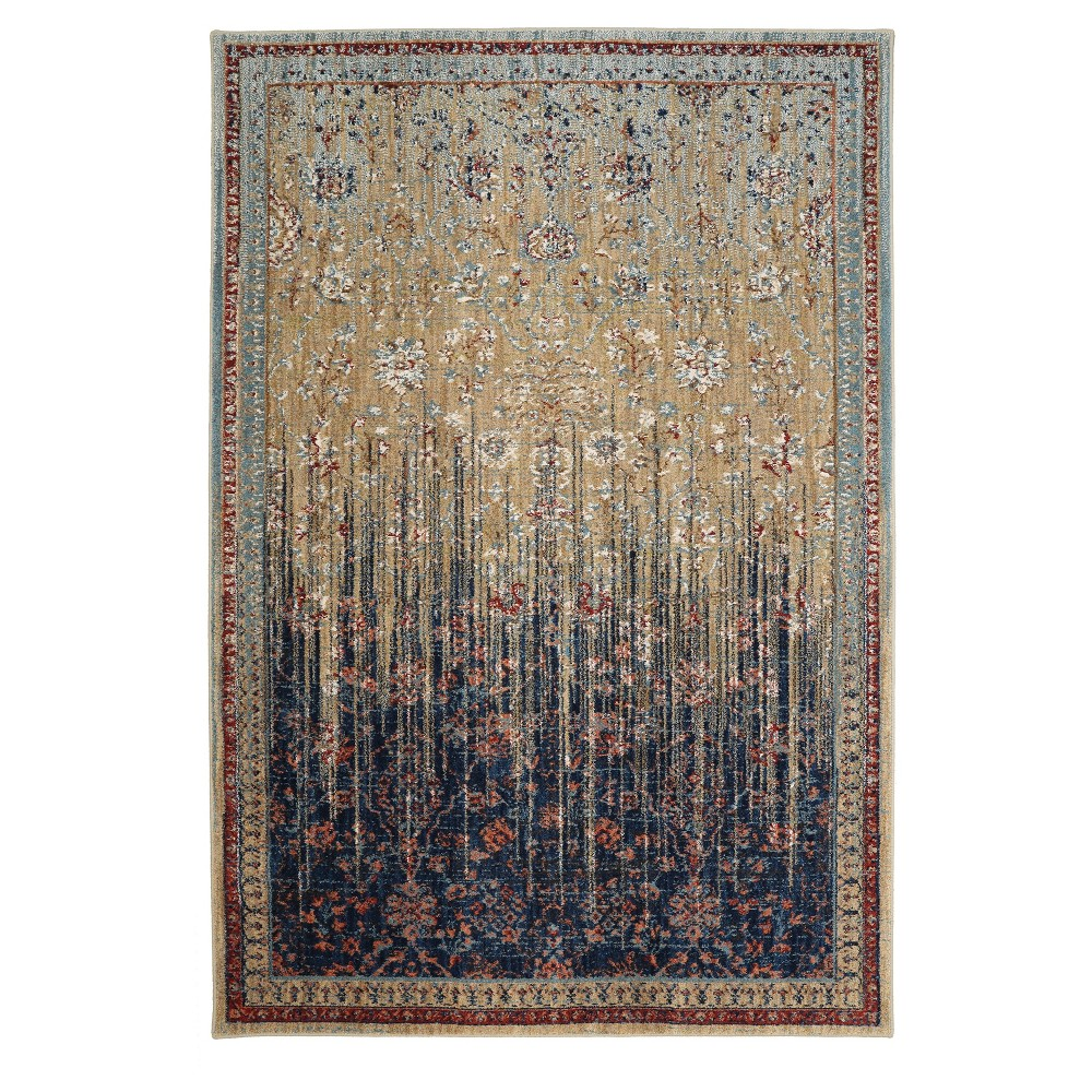 Image of Gold Floral Woven Area Rug 5'X7' - Karastan