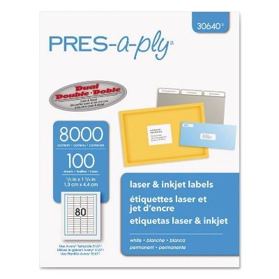 Avery Laser/Inkjet Address Labels 1/2 x 1 3/4 White 8000/Pack 30640
