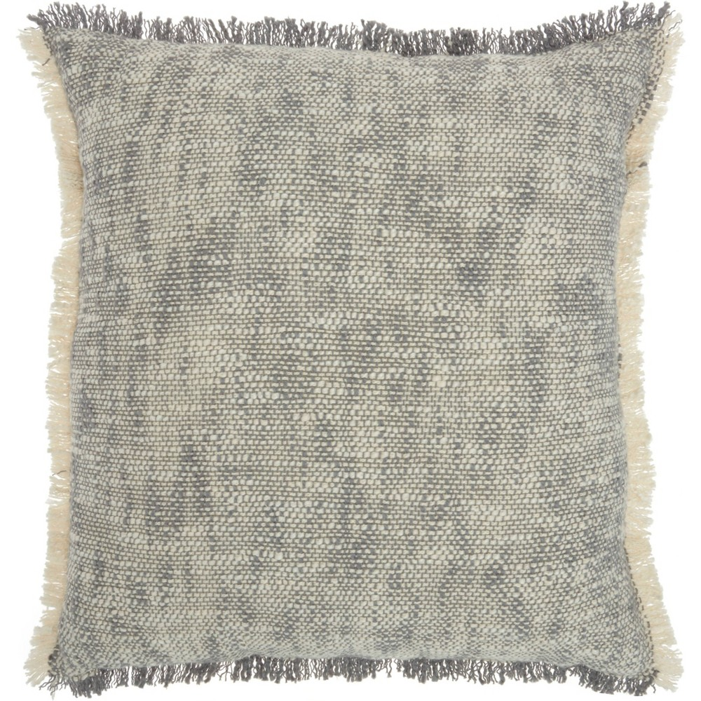 Image of Life Styles Woven Fringe Throw Pillow Gray - Nourison