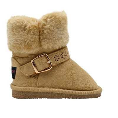 Rampage Toddler Girls' Little Kid Slip On Microsuede Short Ankle Boots with Faux Fur Cuff and Cutout Design Buckle Straps