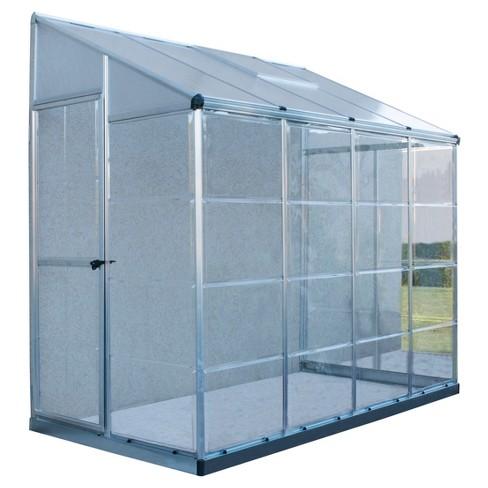 4'X8' Hybrid Lean-To Greenhouse - Silver - Palram
