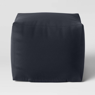 "18"" x 18"" Outdoor Pouf Black - Room Essentials™"