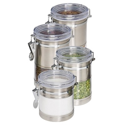 Honey-Can-Do Stainless and Acrylic Canisters - 4Pk