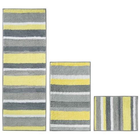 Mdesign Microfiber Bath Mat Rugs Runner, Grey And Yellow Bathroom Rugs