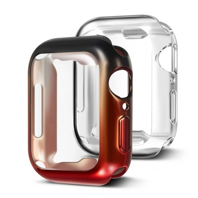 Insten 2 Pack Case Compatible with Apple Watch 40mm Series SE 6 5 4, Full Coverage, Soft TPU Protector, Plated Gradient Black to Red and Clear Case