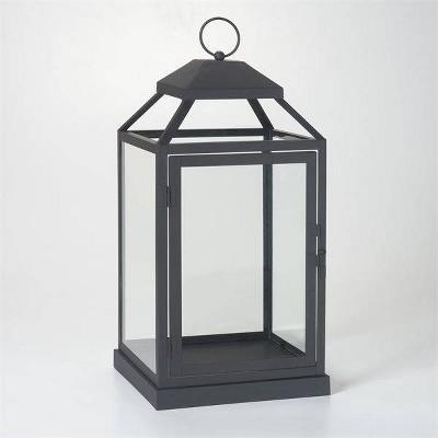 """17"""" Gideon Metal Outdoor Lantern with Door Black - Smart Living"""