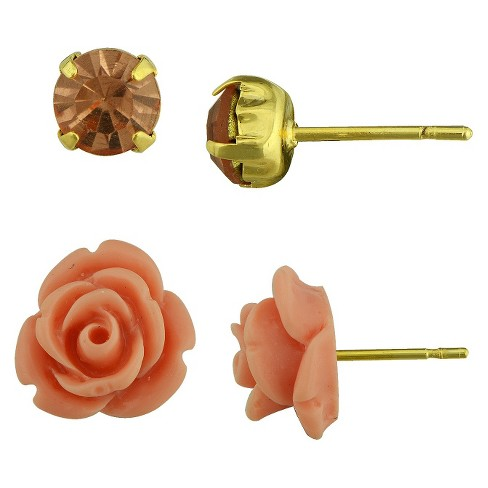 Champagne Crystal Round and Peach Resin Flower Stud Earrings Set - image 1 of 1