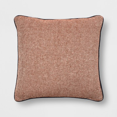Woven Herringbone With Piping Oversized Square Throw Pillow Orange - Threshold™