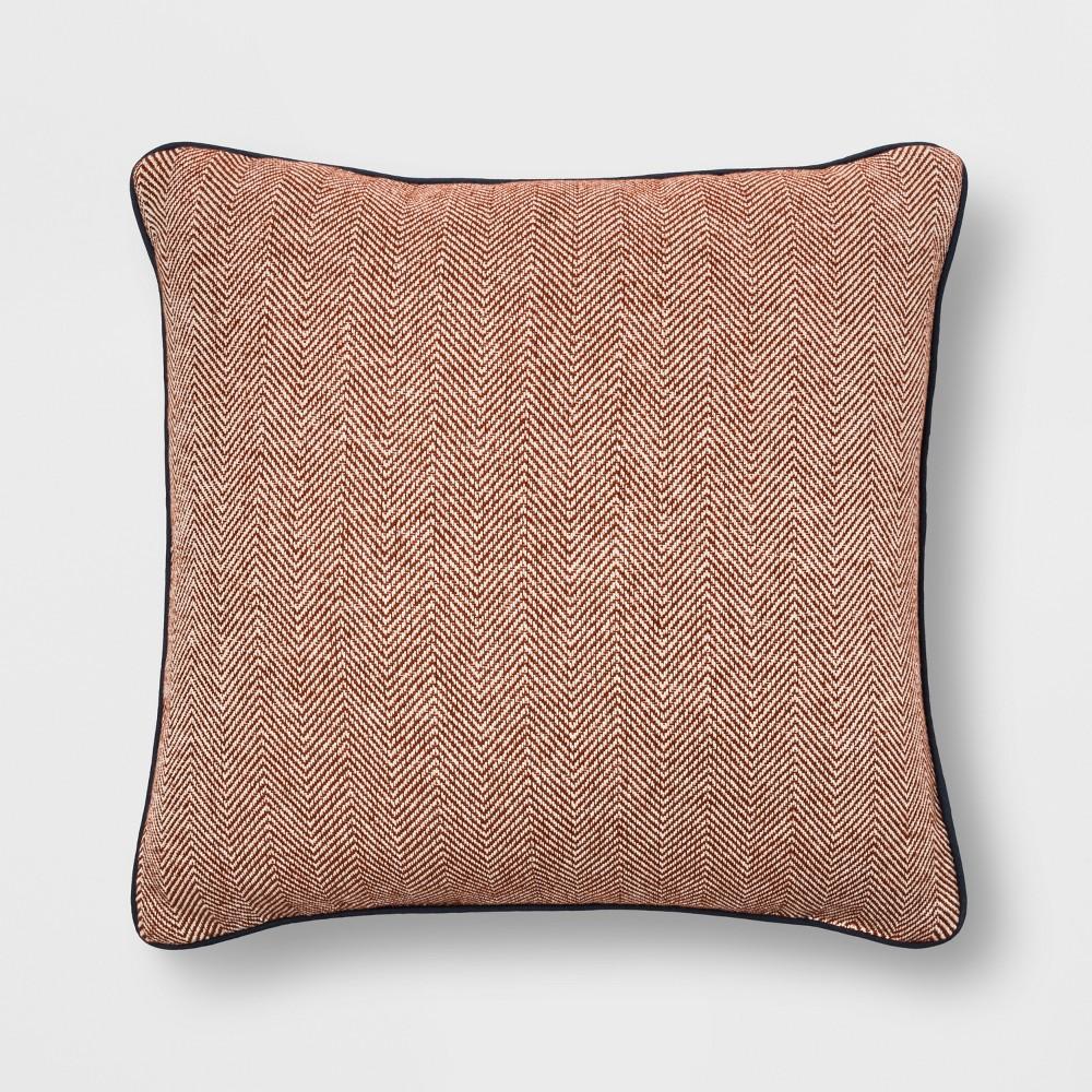 Woven Herringbone With Piping Oversized Square Throw Pillow Orange - Threshold