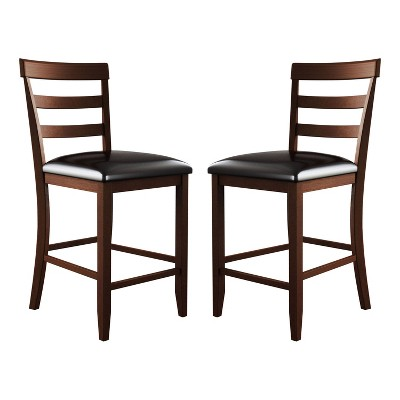 Set of 2 Alexander Upholstered Counter Height Barstools Brown - Abbyson Living