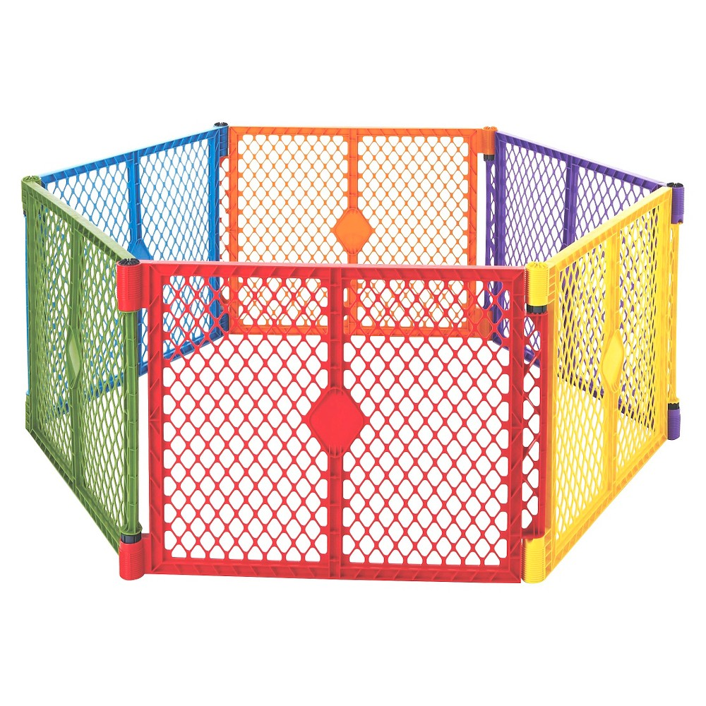 Image of Toddleroo By North States Superyard Colorplay 6 Panel Freestanding Gate