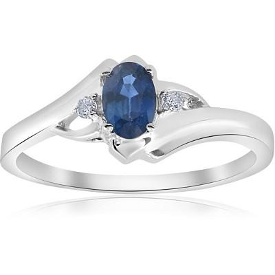 Pompeii3 1/2ct Oval Blue Sapphire Diamond Ring 14K White Gold